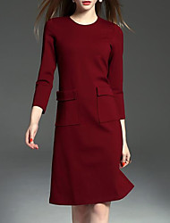 cheap -Women's Going out Sheath Dress,Solid Round Neck Knee-length Long Sleeves Polyester Spandex Fall High Rise Micro-elastic Medium