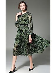 cheap -Women's Daily Casual Chiffon Dress,Print Round Neck Midi Long Sleeves Polyester Winter Fall Mid Rise Micro-elastic Medium