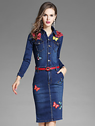 Women's Going out Casual/Daily Street chic Denim DressFloral Embroidered Shirt Collar Knee-length Long Sleeves Polyester Fall Mid Rise