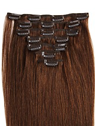 cheap -14-24 Inch Clip In Human Hair Extensions 100% Real Human Hair Straight Various Colors for Lady Beauty 70g/100g/Pack