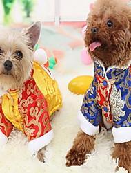 baratos -Gato Cachorro Casacos Macacão Roupas para Cães Fantasias Ano Novo Color Block Amarelo Azul Ocasiões Especiais Para animais de estimação