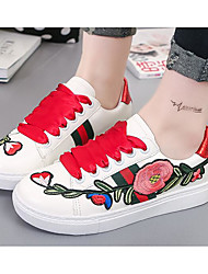 Women's Shoes Canvas Spring Fall Comfort Sneakers Chunky Heel Round Toe For Casual Red Green
