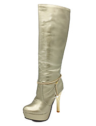 cheap -Women's Shoes Patent Leather Fall Winter Fashion Boots Boots Stiletto Heel Platform Round Toe Knee High Boots Imitation Pearl Chain For