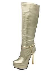 baratos -Feminino Sapatos Couro Envernizado Outono Inverno Botas da Moda Botas Salto Agulha Plataforma Ponta Redonda Botas Cano Alto Pérolas
