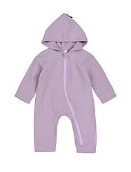 baratos -bebê Crianças Peça Única Côr Sólida Estações Cruzadas Primavera 100% Algodão Manga Longa Cinzento Roxo