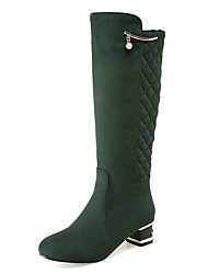 Feminino Sapatos Flanelado Outono Inverno Botas da Moda Botas Ponta Redonda Botas Cano Alto Corrente Para Casual Festas & Noite Preto