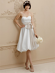 cheap -A-Line Sweetheart Knee Length Satin Custom Wedding Dresses with Bow(s) Draping Sashes / Ribbons by LAN TING BRIDE®