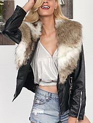 Feminino Casaco de Pêlo Casual Tamanhos Grandes Simples Outono Inverno,Sólido Curto Pêlo Sintético Colarinho de Camisa Manga Longa