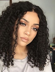 cheap -Women Human Hair Lace Wig Brazilian Human Hair U Part 130% Density Layered Haircut With Baby Hair Kinky Curly Wig Black Medium Brown Dark