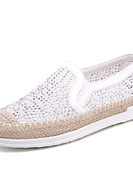 cheap -Women's Shoes Linen Glitter Spring Fall Comfort Novelty Loafers & Slip-Ons Flat Heel Round Toe Sparkling Glitter For Casual Black White