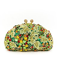 cheap -Women Bags Metal Evening Bag Crystal Detailing for Wedding Event/Party All Seasons Light Green