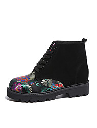 cheap -Women's Shoes Fabric Fall Winter Comfort Boots Flat Heel Booties/Ankle Boots Lace-up For Casual Black