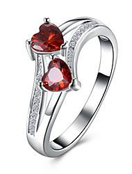 Mulheres Anéis Grossos Zircônia Cubica Coração Moda Zircão Formato de Coração Jóias Para Festa Halloween