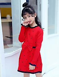 cheap -Girl's Daily Polka Dot Dress,Polyester Winter Long Sleeve New Year's Red Navy Blue