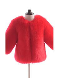 preiswerte -Mädchen Jacke & Mantel Solide Kunst-Pelz Spezieller Felltyp Winter Langarm Orange Rote