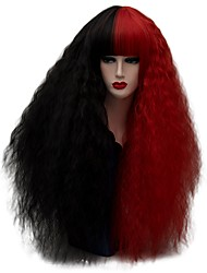 cheap -Synthetic Wig / Cosplay & Costume Wigs Curly / Kinky Curly Synthetic Hair Red / Black Wig Women's Long Capless