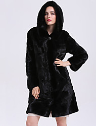 Women's Daily Sophisticated Winter Fur Coat,Solid Hooded Long Fox Fur
