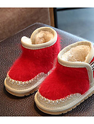 Baby Shoes Flocking Fall Winter Fluff Lining Snow Boots Boots For Casual Blushing Pink Red Gray Black
