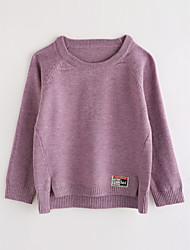 billige -Baby Pige Ensfarvet Langærmet Bomuld Bluse
