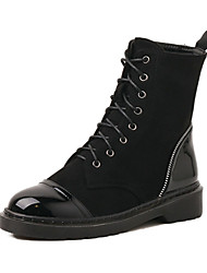cheap -Women's Shoes Leatherette Spring Fall Winter Basic Pump Comfort Novelty Boots Low Heel Lace-up For Wedding Party & Evening Black