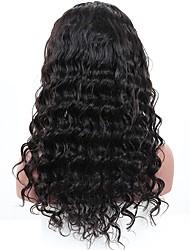 Недорогие -жен. Бразильские волосы Натуральные волосы 360 Лобовой 180% плотность С пушком Свободные волны Парик Черный Средний