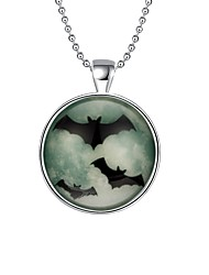 cheap -Women's Luminous Silver Plated Pendant Necklace Chain Necklace  -  Basic Luminous Illuminated Round Bat Silver Necklace For Daily Evening