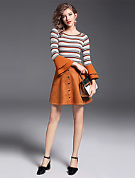 Women's Daily Work Casual Fall Skirt Suits,Striped Round Neck Long Sleeve Cotton Polyester Stretchy