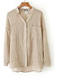 Недорогие -Жен. Офис Большие размеры - Рубашка V-образный вырез Однотонный / Лето / Осень