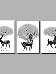 cheap -Hand-Painted Pop Art Horizontal Panoramic,Artistic Nature Inspired Birthday Modern Three Panels