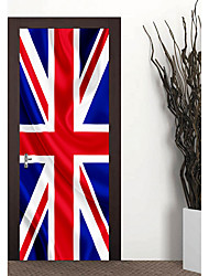 cheap -77*200cm Large 3D England Flag Door Mural Wall Sticker DIY Mural Quarto PVC Waterproof Union Jack Flag Door Decal Home Decor 3D Door Mural Sticker