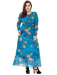 abordables -Femme Grandes Tailles Sortie Sophistiqué Ample Gaine Balançoire Robe - Ouvert, Fleur Taille Haute Maxi