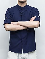 cheap -Men's Chinoiserie Plus Size Linen Shirt - Solid