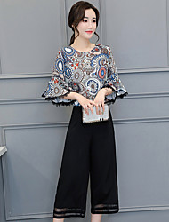 cheap -Women's Daily Casual Summer Blouse Pant Suits,Floral Round Neck ¾ Sleeve Cotton