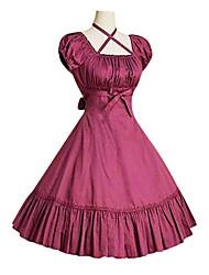 Une Pièce/Robes Lolita Classique/Traditionnelle Rétro Cosplay Vêtrements Lolita Noir Gris Fuschia Rétro Gigot / Ballon Manches Courtes