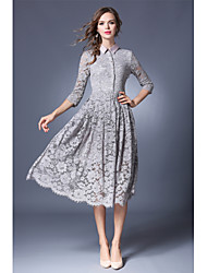 Women's Party Going out Simple A Line Dress,Solid Shirt Collar Knee-length Half Sleeves Acrylic Spring Fall Mid Rise Inelastic Medium