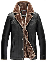 cheap -Men's Daily Plus Size Simple Casual Winter Leather Jacket,Solid Notch Lapel Long Sleeve Regular PU