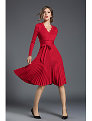 Women's Party Going out Sexy Simple Street chic Sheath Swing Dress,Solid V Neck Knee-length Mid-Calf Long Sleeves Spandex Fall Winter