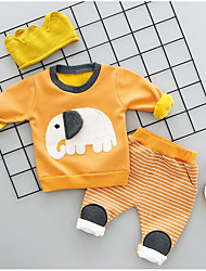 cheap -Boys' Animal Print Clothing Set,Cotton Spandex Winter Fall Gray Yellow