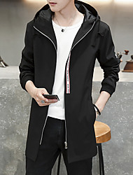 Men's Casual/Daily Simple Fall Trench Coat,Print Hooded Long Sleeve Long Polyester