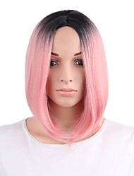 Women Synthetic Wig Capless Short Pink+Red Ombre Hair Party Wig Costume Wig