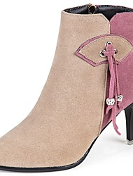 Недорогие -Для женщин Обувь Бархатистая отделка Дерматин Полиуретан Осень Удобная обувь Ботинки На шпильке Квадратный носок Сапоги до середины икры