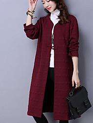 Manteau Femme,Couleur Pleine Sortie Décontracté / Quotidien simple Automne Hiver Manches longues Col en V Longue Coton Acrylique Polyester
