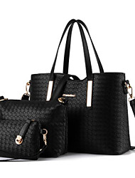 cheap -Women Bags PU Bag Set 3 Pcs Purse Set Zipper for Casual All Season Blue Black Silver Fuchsia Wine