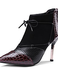 Недорогие -Жен. Обувь Материал на заказ клиента Весна / Осень Модная обувь Ботинки Блочная пятка Заостренный носок Ботинки Черный / Винный