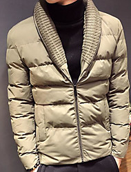 cheap -Men's Padded Coat,Casual Daily Wear Solid-Polyester Long Sleeves