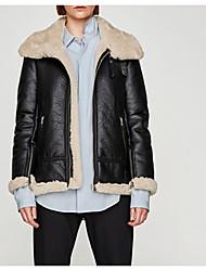 Для женщин На выход На каждый день Зима Осень Кожаные куртки Рубашечный воротник,Уличный стиль Однотонный Короткая Длинный рукав,
