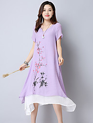 cheap -Women's Party Going out Swing Dress,Solid Jacquard Round Neck Midi Knee-length Short Sleeves Cotton Linen Mid Rise Micro-elastic