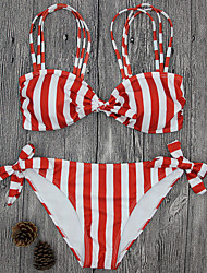 cheap -Women's Striped Sexy Strap Bikini Swimwear,Polyester Nylon Red