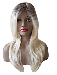 cheap -Women Synthetic Wig Capless Medium Length Long Kinky Straight Creamy-white Ombre Hair With Bangs Party Wig Natural Wigs Costume Wig