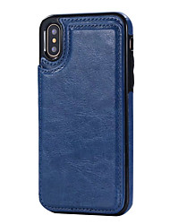 Недорогие -Назначение iPhone X iPhone 8 Чехлы панели Бумажник для карт со стендом Задняя крышка Кейс для Сплошной цвет Твердый Искусственная кожа для